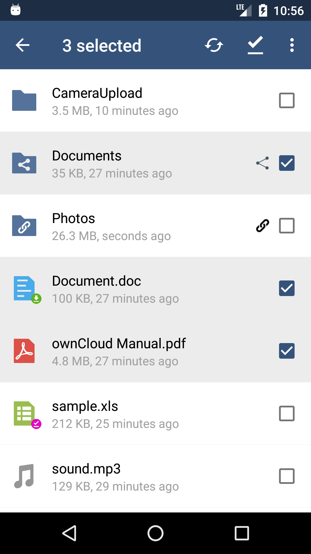 Screenshot of the ownCloud Android App