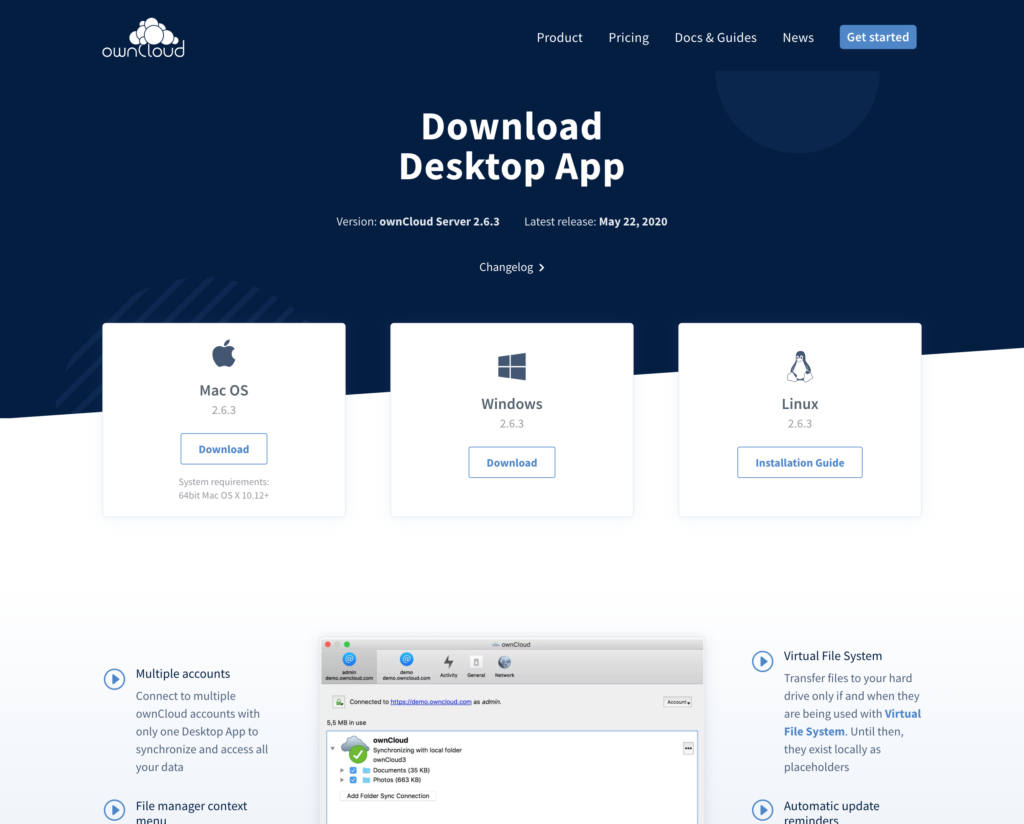 Download page for ownCloud desktop app