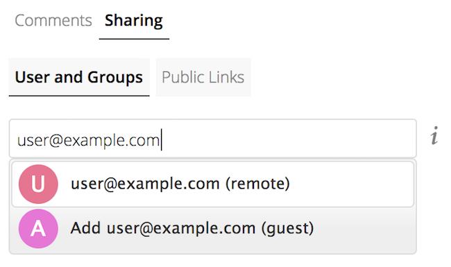 Screenshot of share dialogue for Guest User