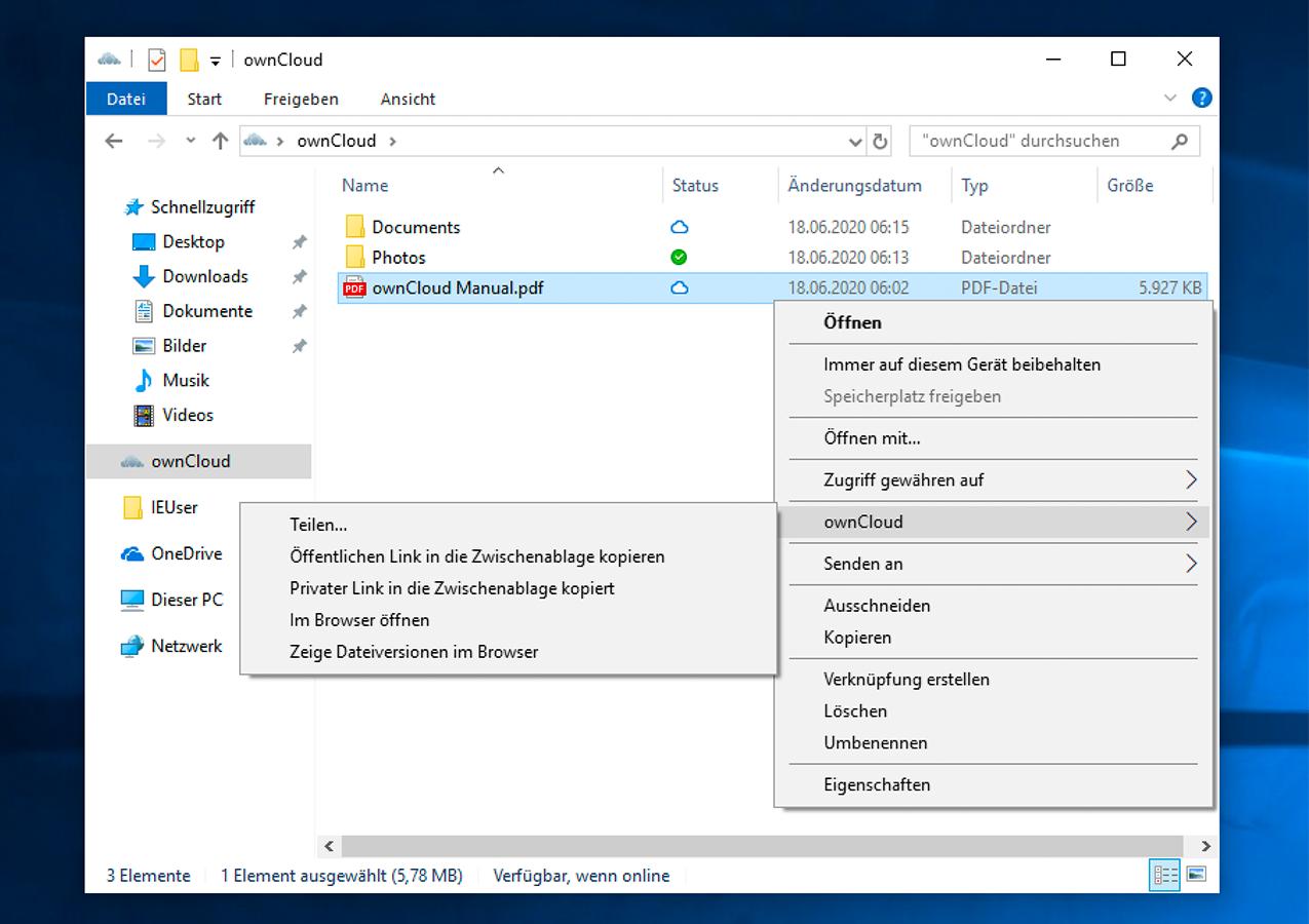 Virtual File System context menu