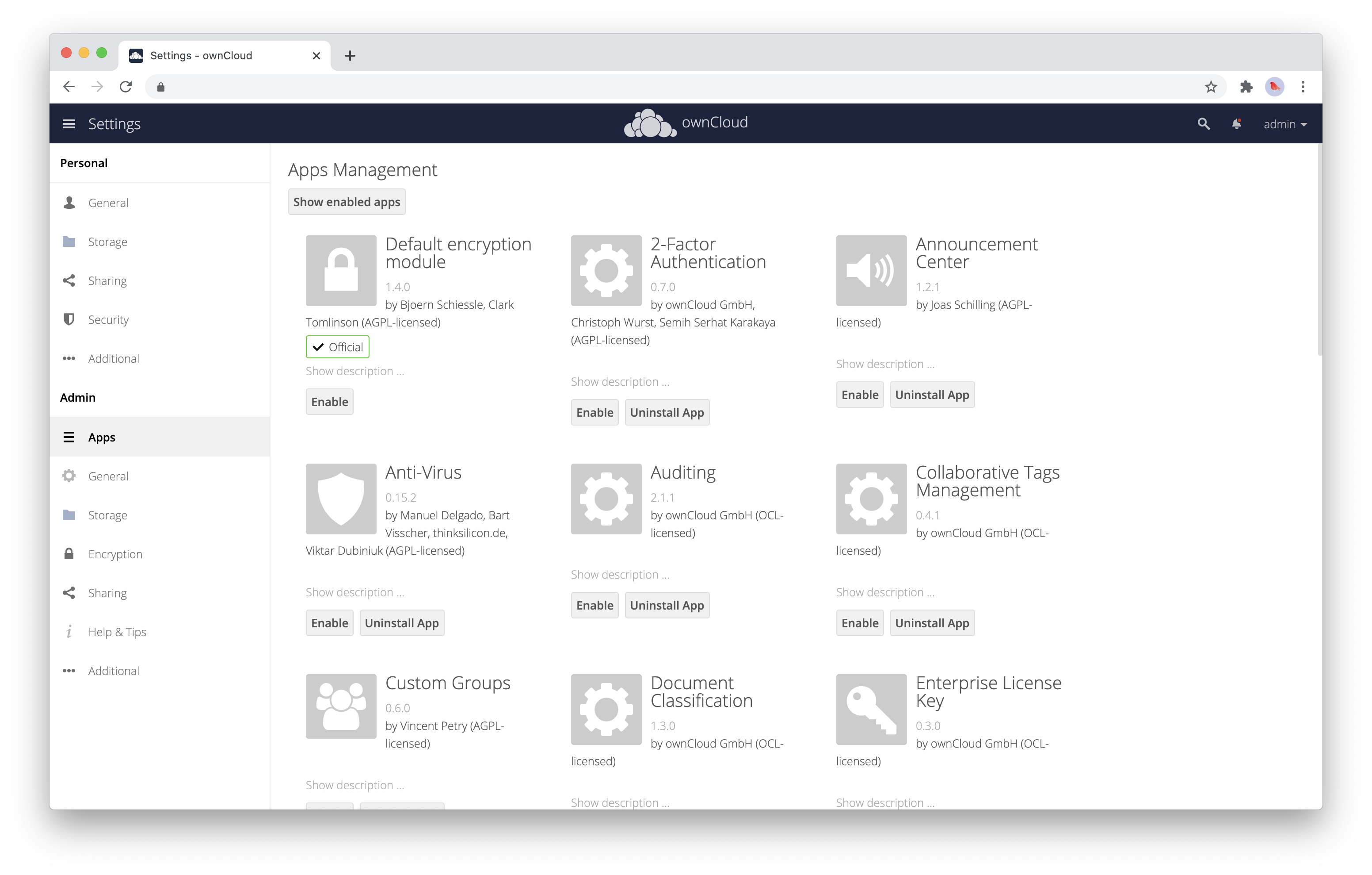 Activate an ownCloud Enterprise app within your admin settings