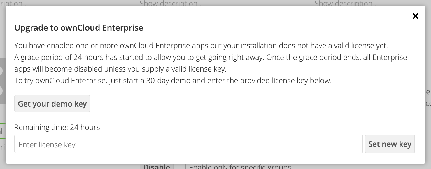 You can test drive ownCloud enterprise apps for 24 hours before you have to insert a license key