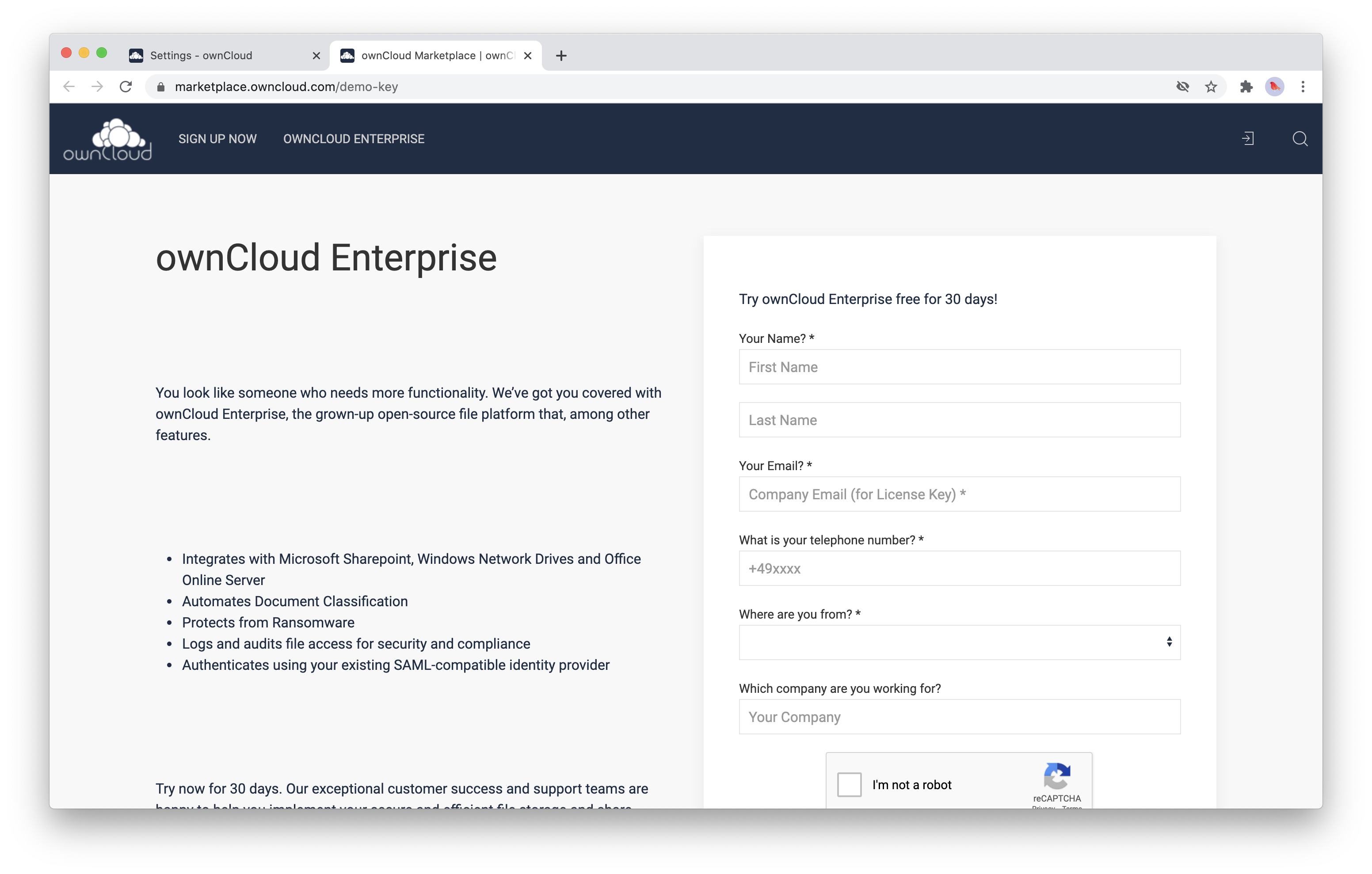 In order to receive a license key fill out the application form on the ownCloud marketplace