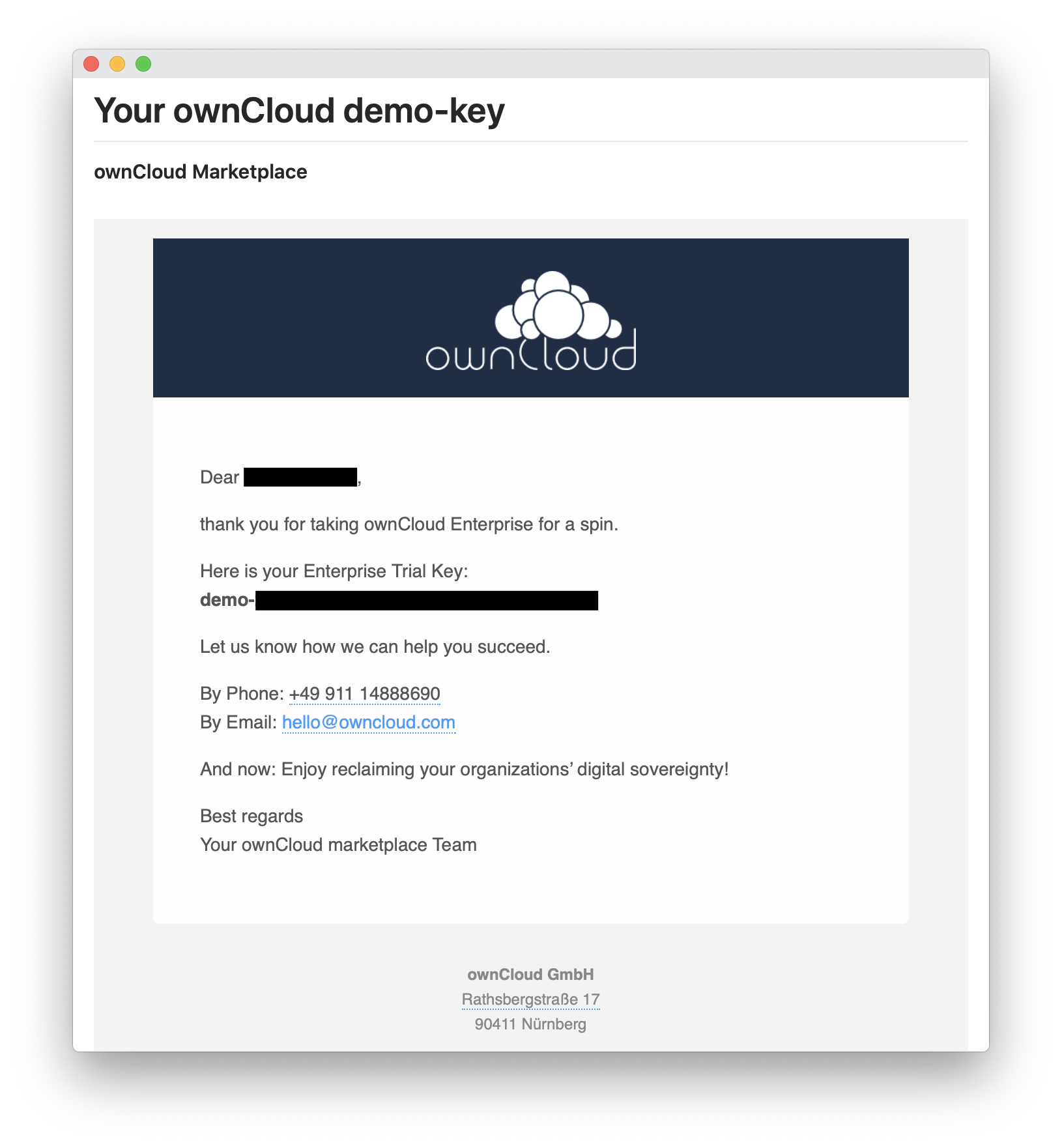 You will receive an email with a license key for your ownCloud Enterprise trial