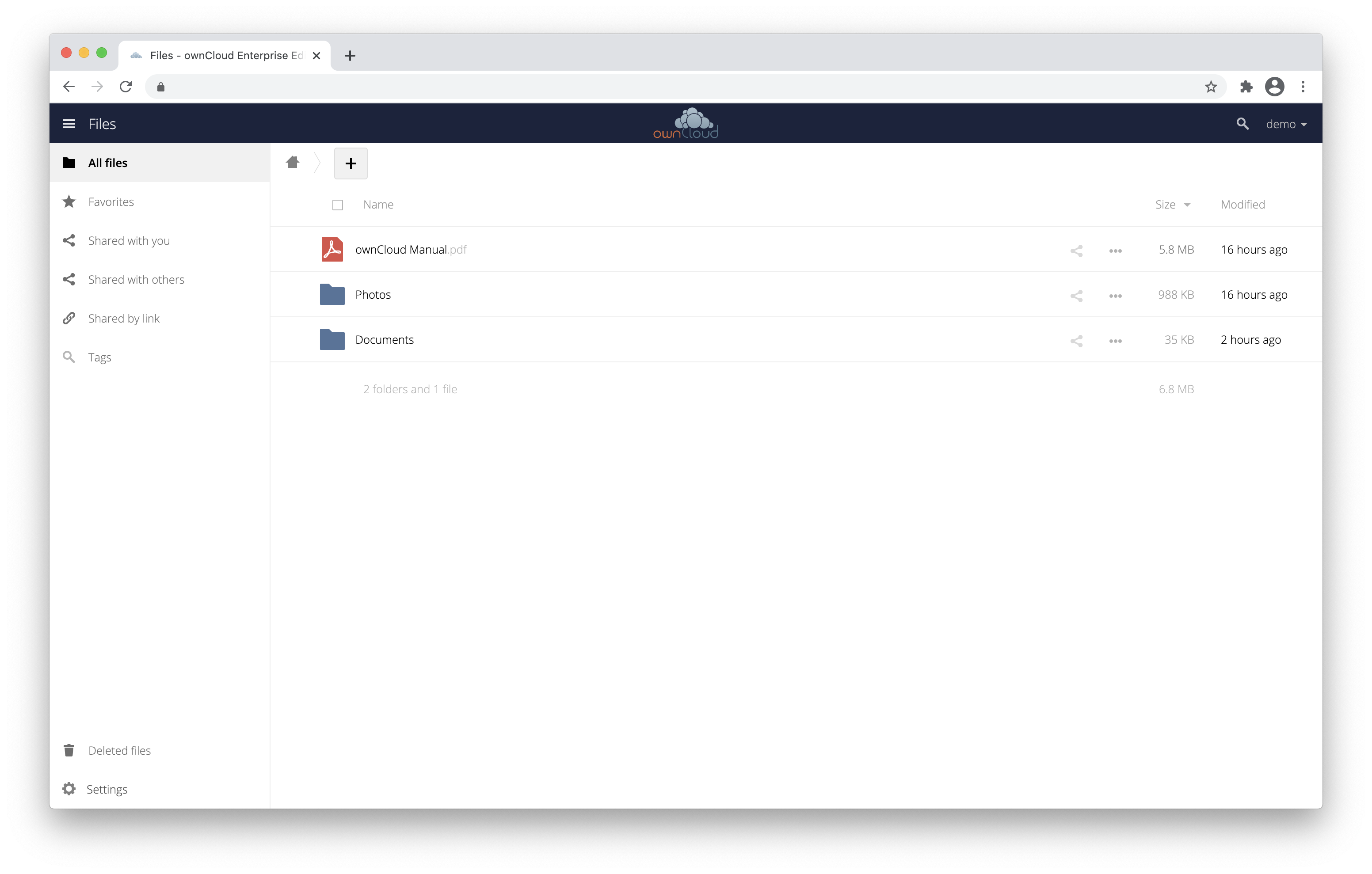 The ownCloud Enterprise online demo in action