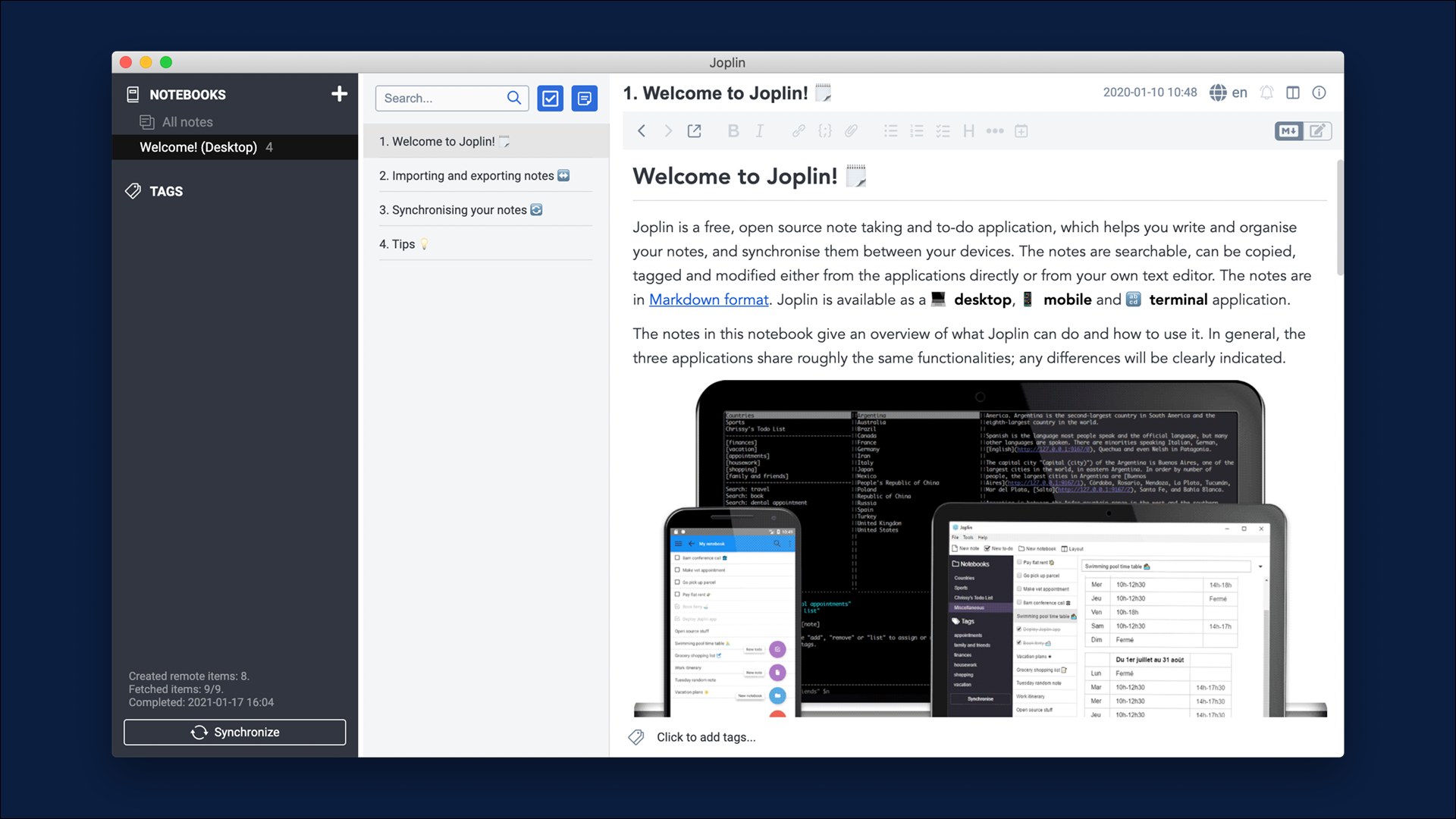 Sync notes with ownCloud and Joplin