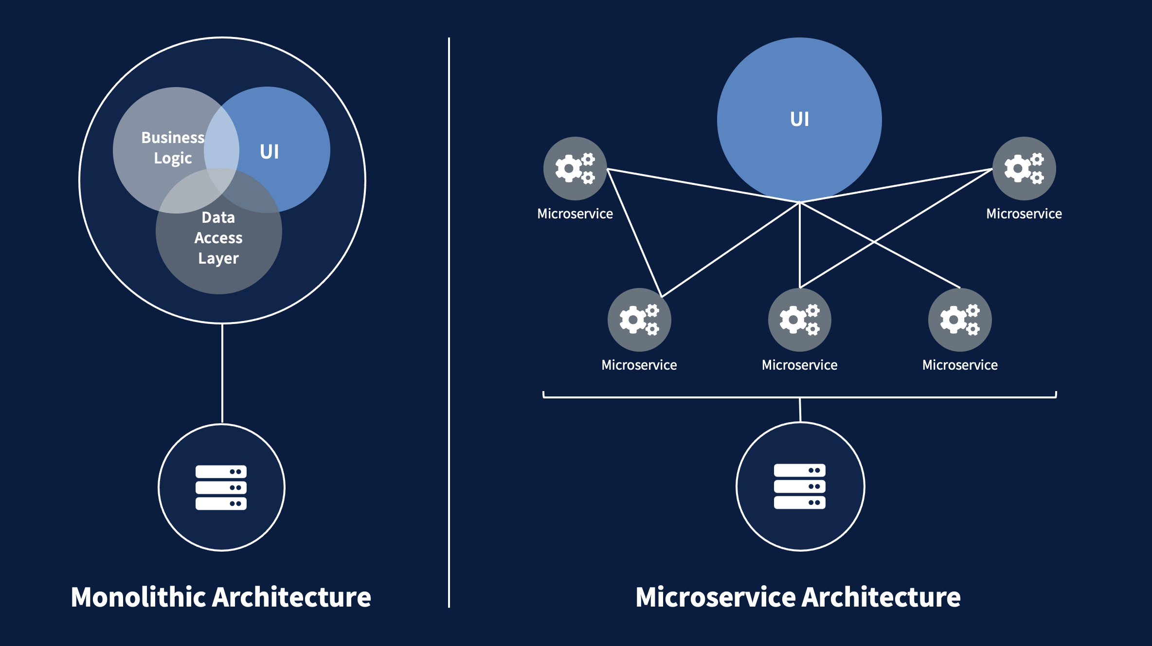 infographic explaining the difference between amonolithic and a microservices architecture