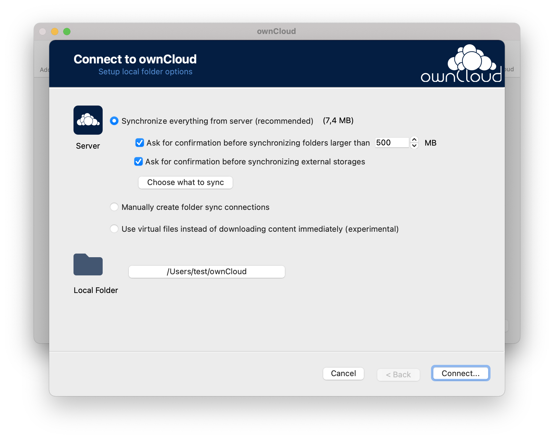 Choose whether to sync all files and folders, select some manually or enable Virtual Files with ownCloud desktop app