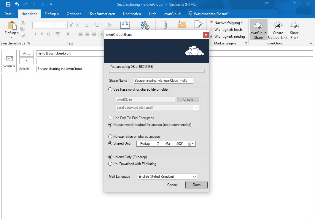 Complemento de Outlook para ownCloud