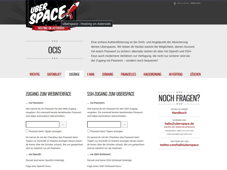 A screenshot of the Uberspace dashboard