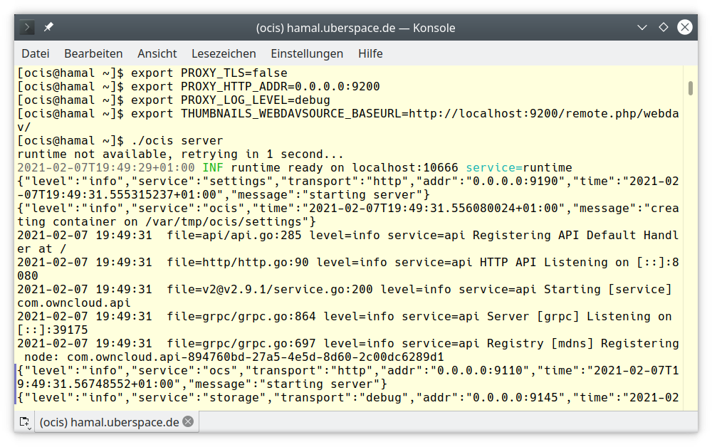 A view of the CLI when starting up ownCloud Infinite Scale instance on Uberspace