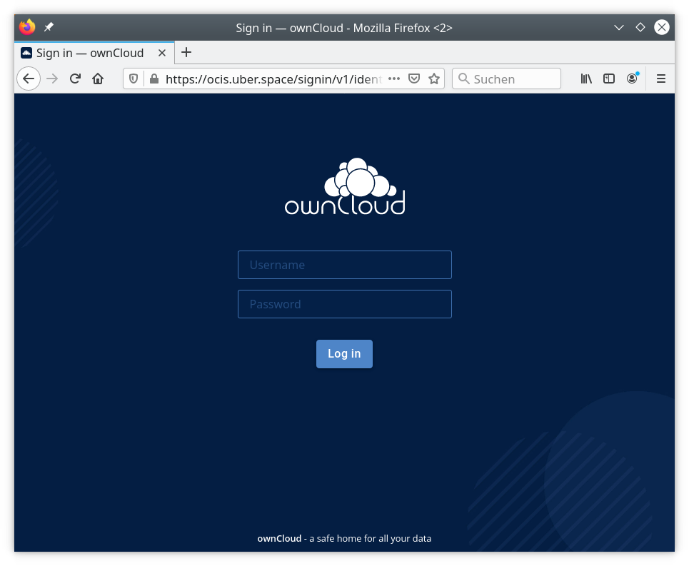This is what the login screen looks like for ownCloud Infinite Scale on Uberspace
