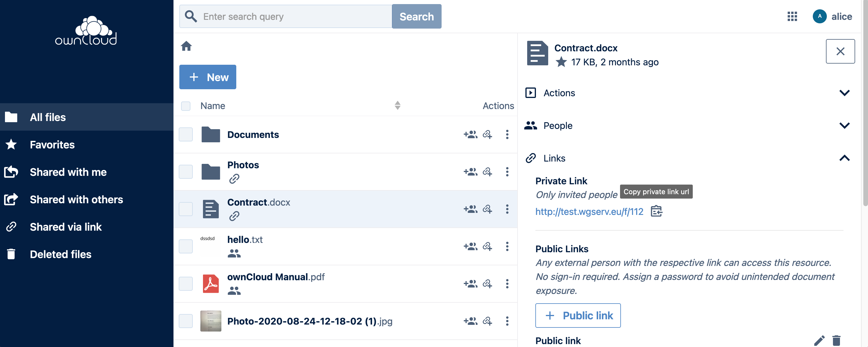 Screenshot of copying a private link in the new ownCloud Web interface