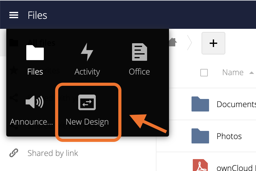 Easily switch between classic web frontend and ownCloud Web within the app menu