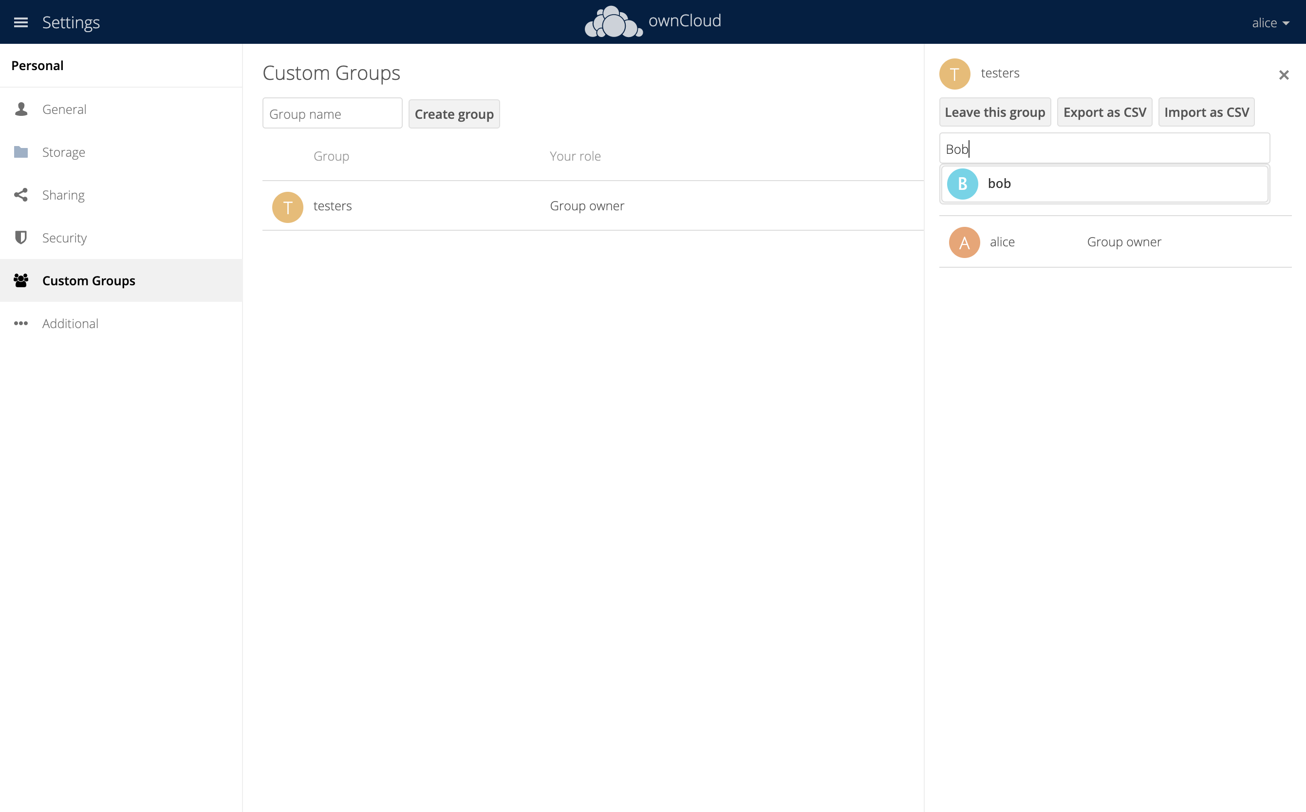 screenshot of adding another user to a custom group
