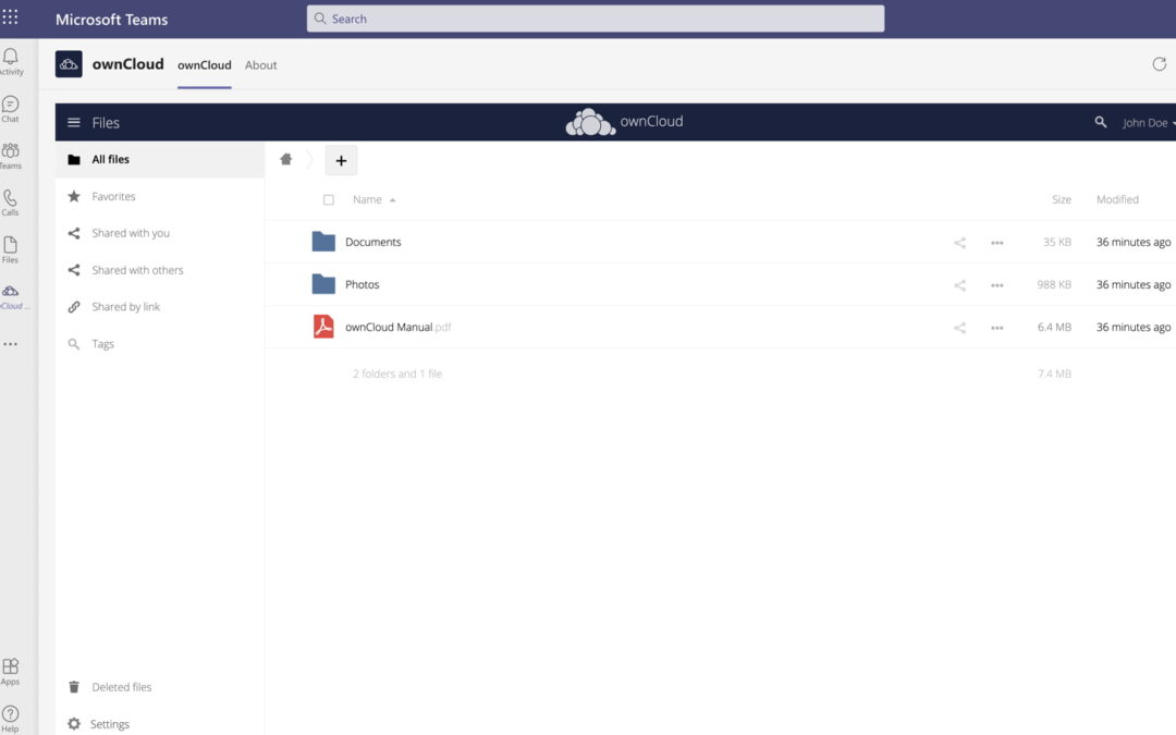 ownCloud jetzt voll in Microsoft Teams integriert