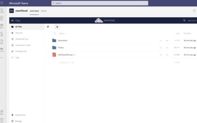 ownCloud now fully integrated in Microsoft Teams