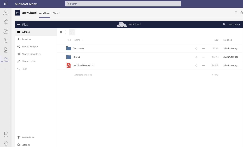 ownCloud Integration Microsoft Teams